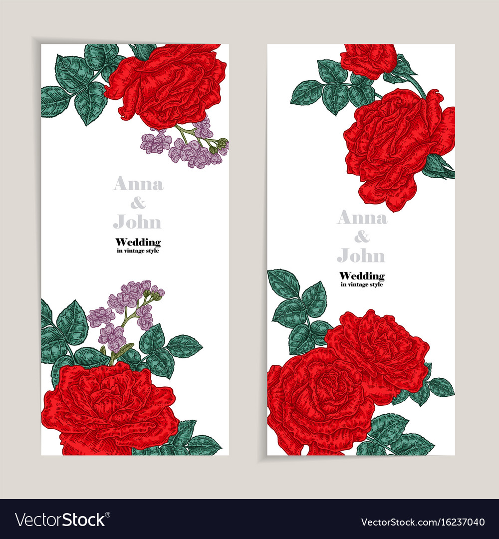 Floral wedding invitation card sketch Royalty Free Vector