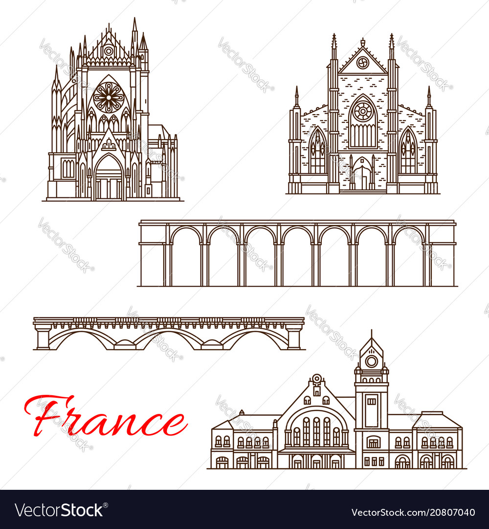 France landmarks architecture line icons