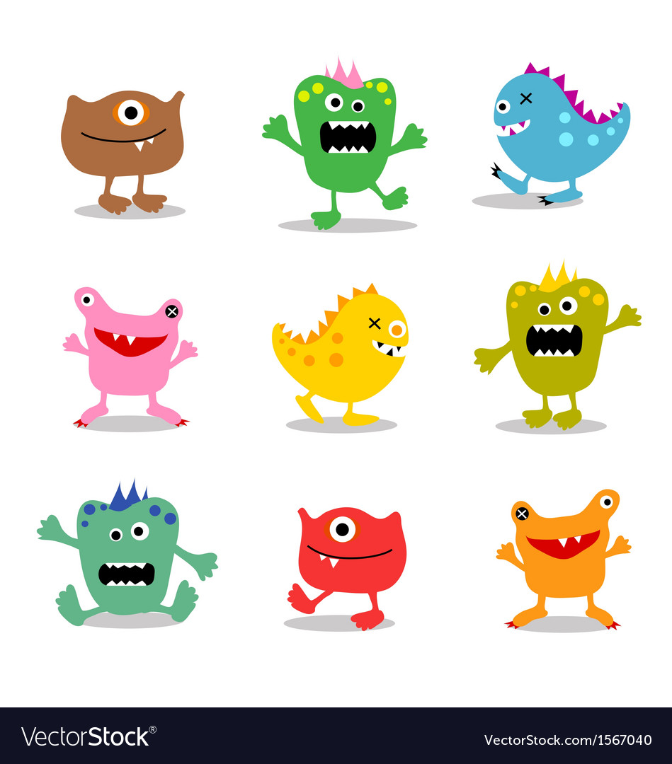 Friendly little monsters set 2 vector image