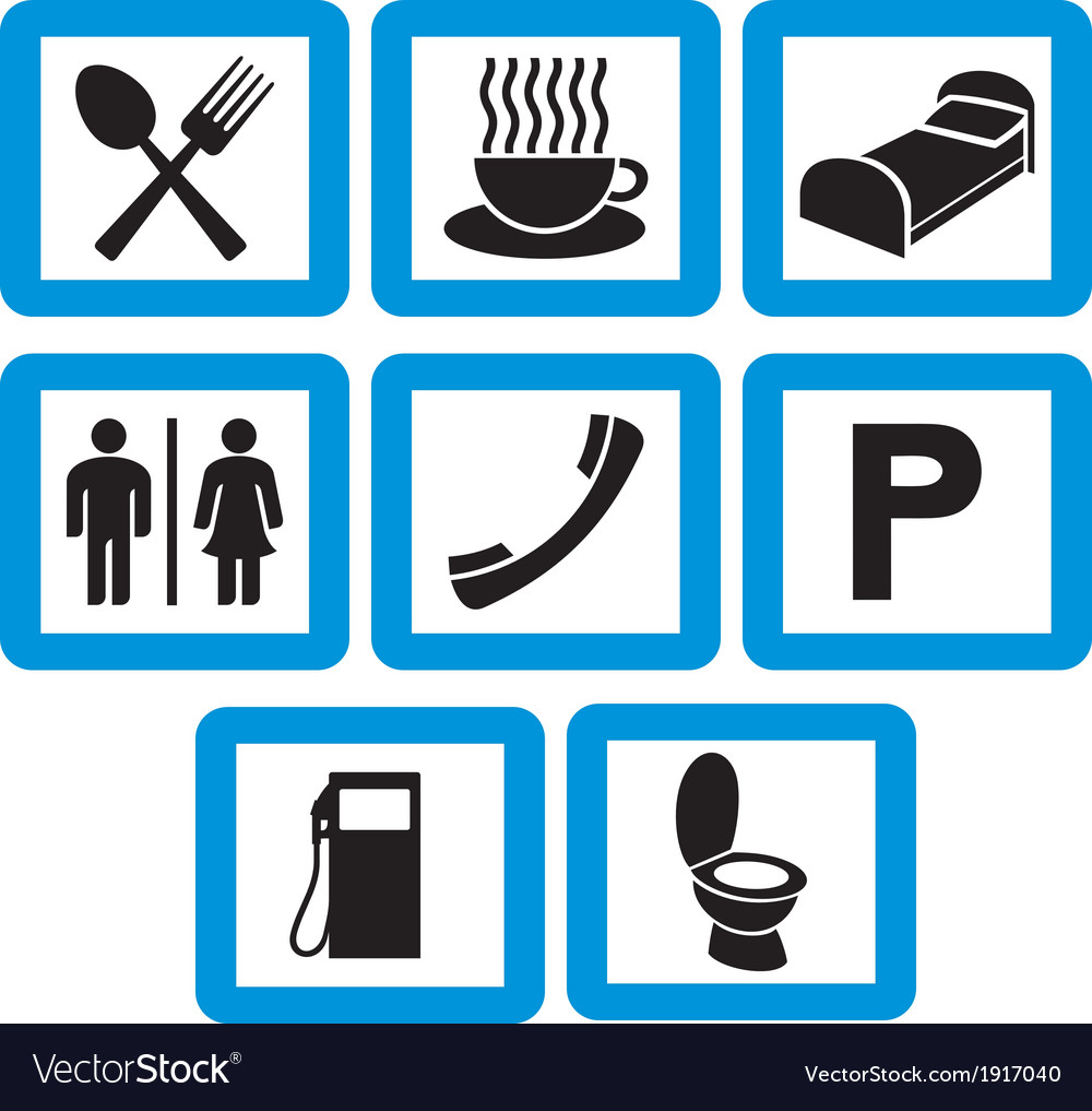 Hotel Icons Set Hotel Signs Royalty Free Vector Image