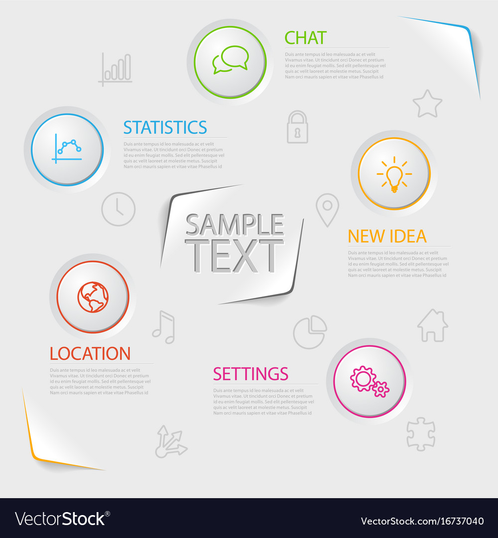 Infographic report poster with circle buttons vector image