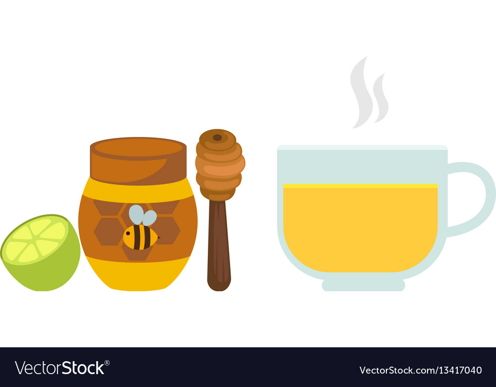 Lemon tea with honey in a glass vector image