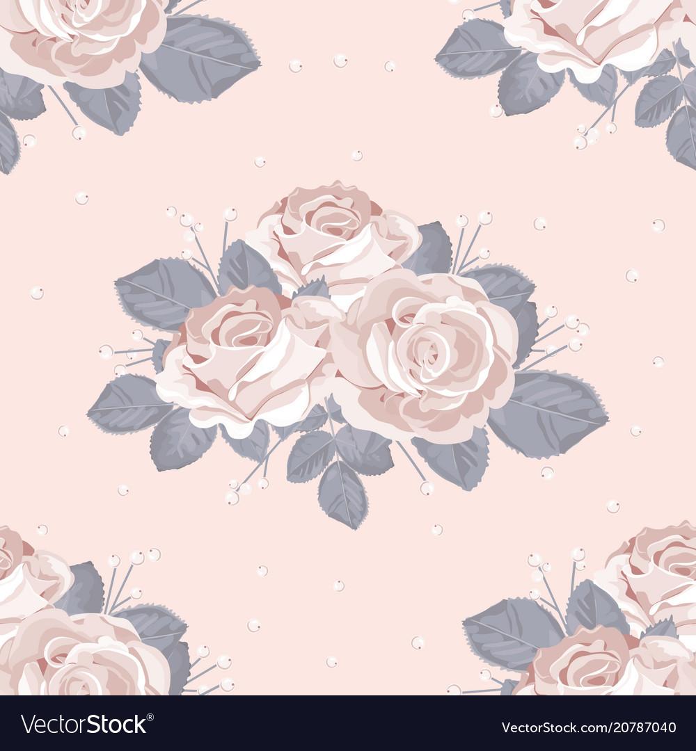 Retro floral seamless pattern white roses