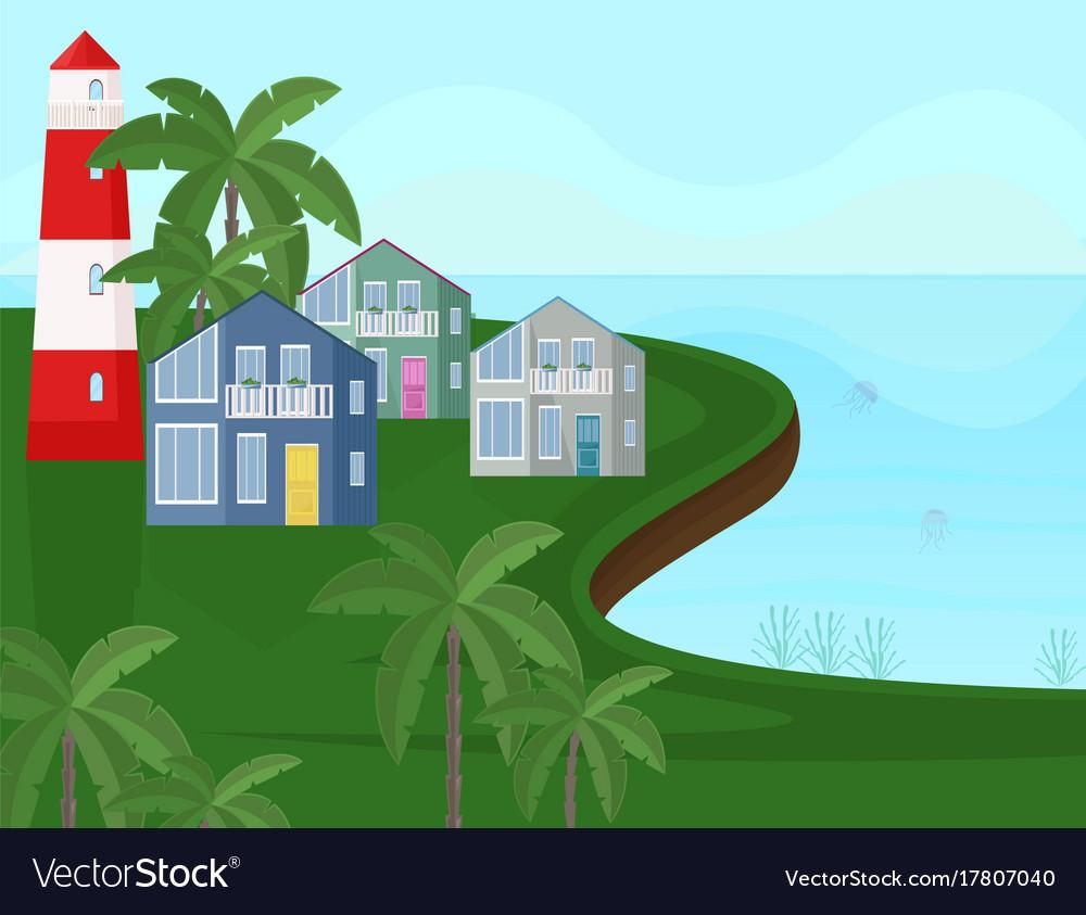Sea coast view seaside with palm trees