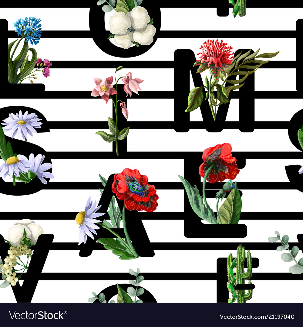 Seamless pattern from font with flowers