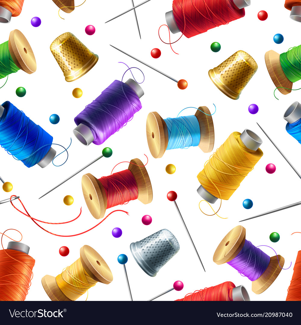 Seamless pattern with sewing tools