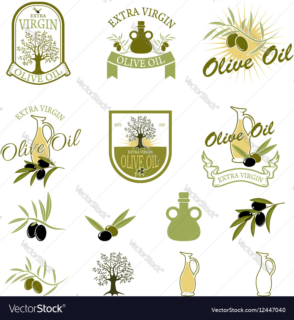 Set of the olive oil labels and badges isolated on