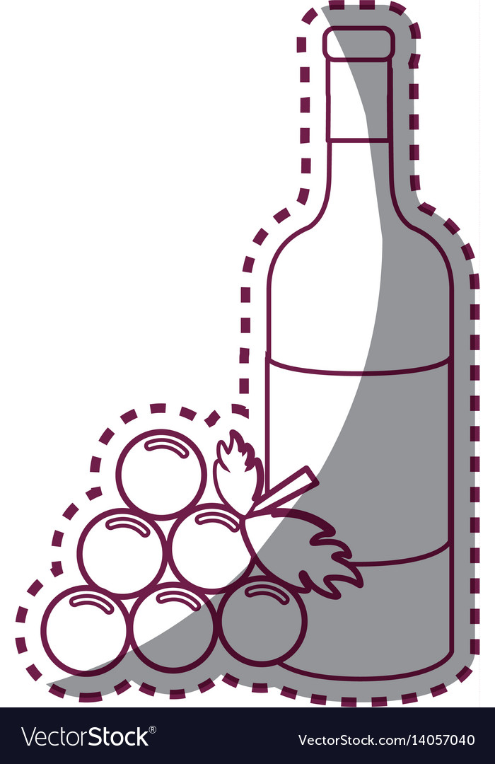 Sticker line bottle of wine with bunch of grapes