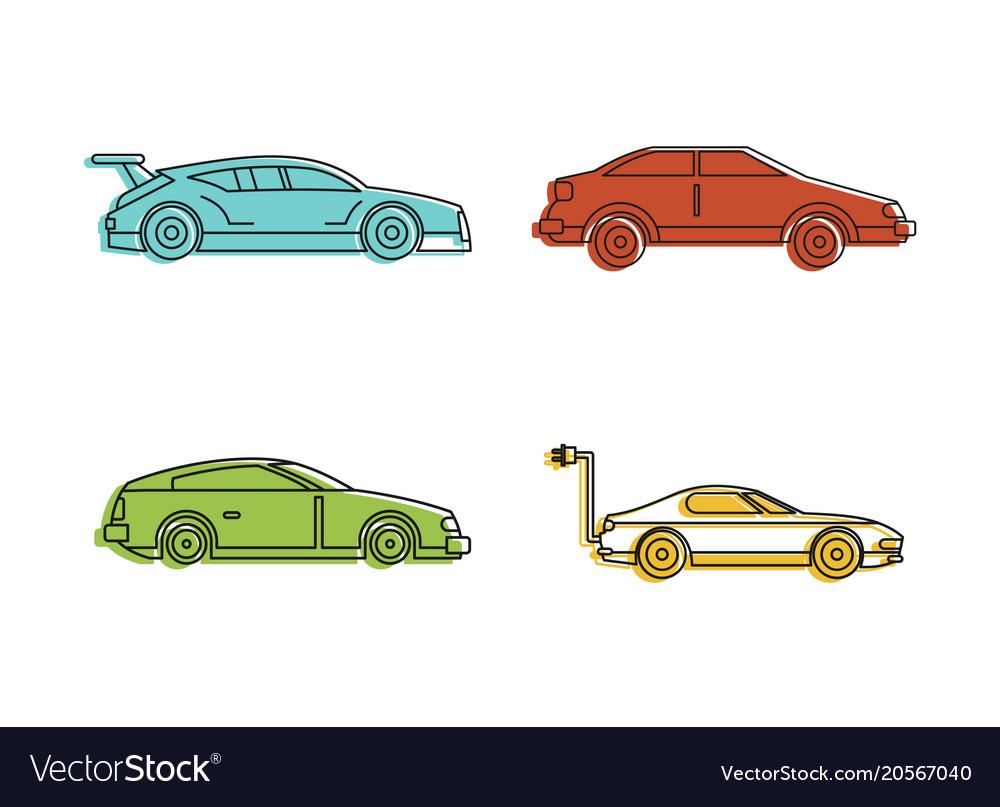 Super car icon set color outline style
