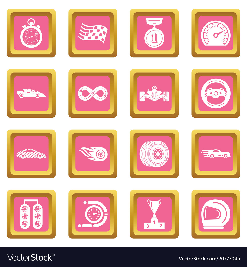 Car race icons set pink square