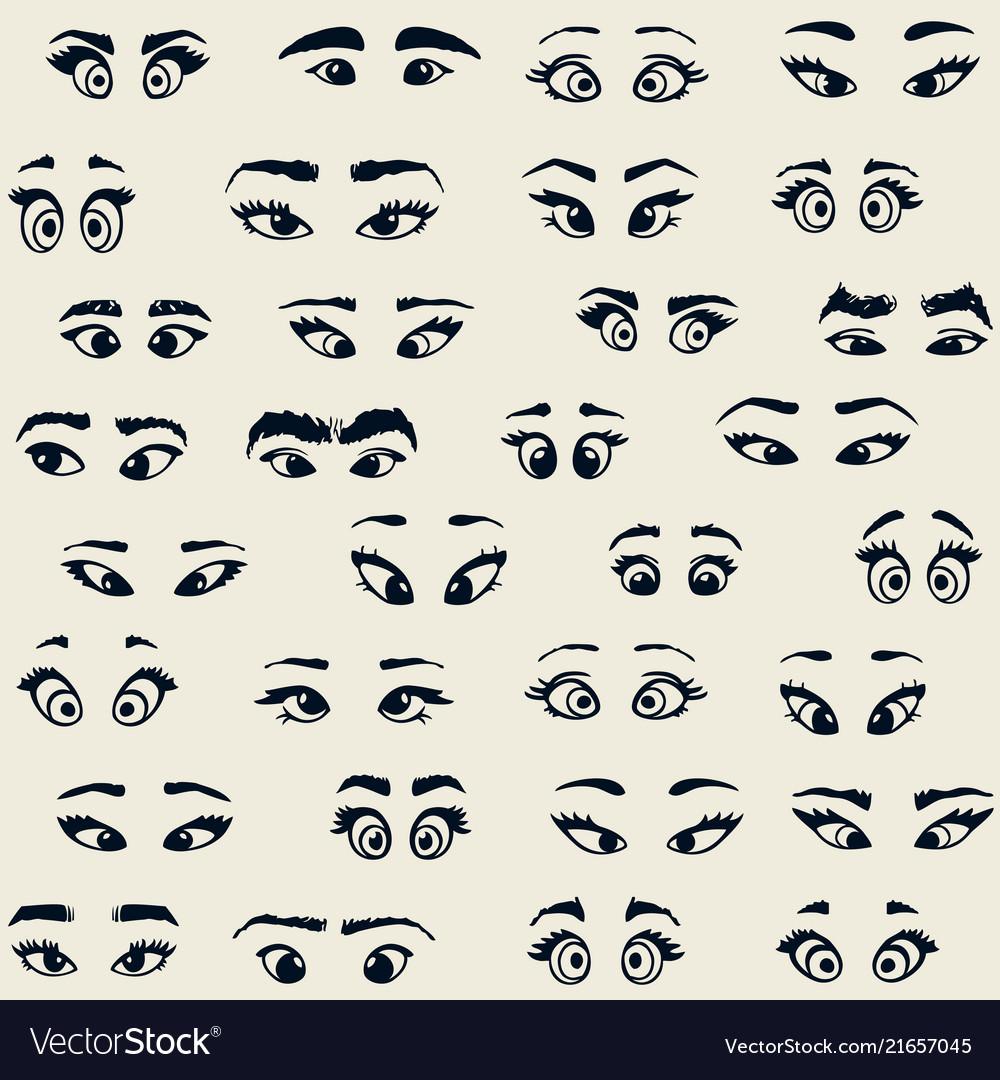 Cartoon Eyes Eyebrows Royalty Free Vector Image