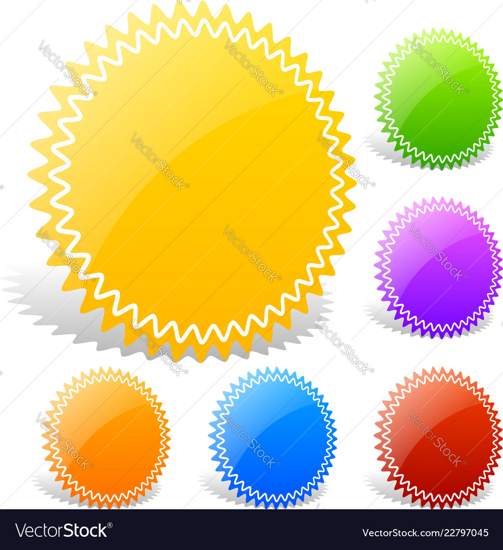 Colorful glossy badge shapes with blank space
