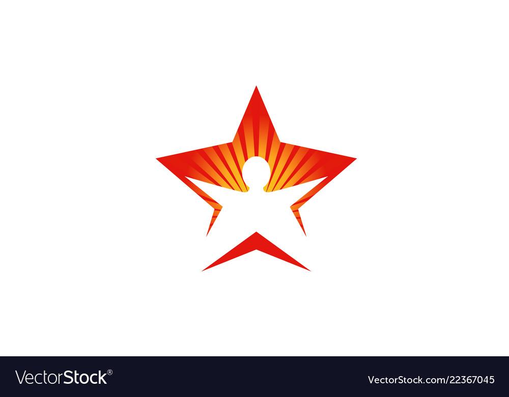Creative body star sunshine happy silhouette logo