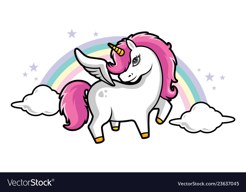 Cute little magical pink unicorn pink hair