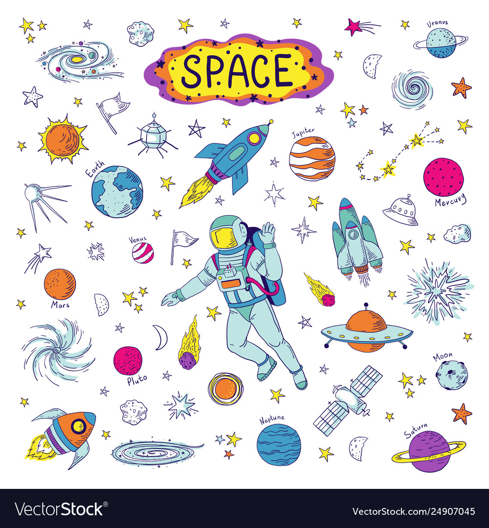 Doodle space cosmos trendy kids pattern hand