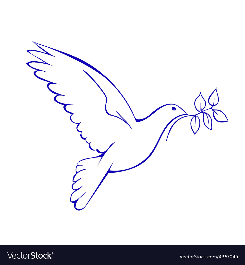 Dove With Branch Symbol Of Peace Royalty Free Vector Image