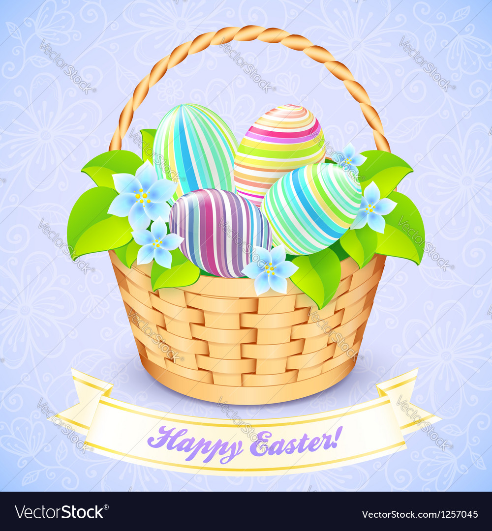 Easter Bucket With Flowers And Decorated Eggs Vector Image