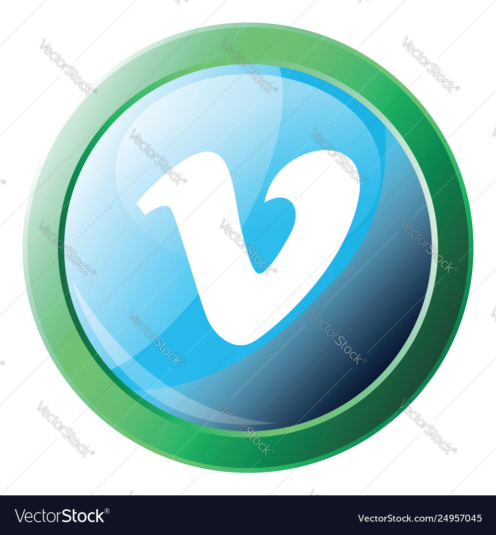Green circle with vimeo sign inside icon on a
