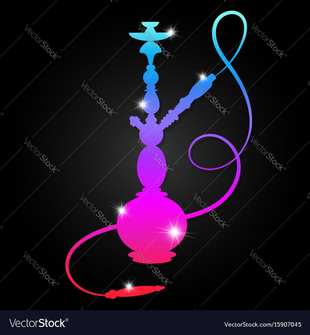 Neon hookah design vector image