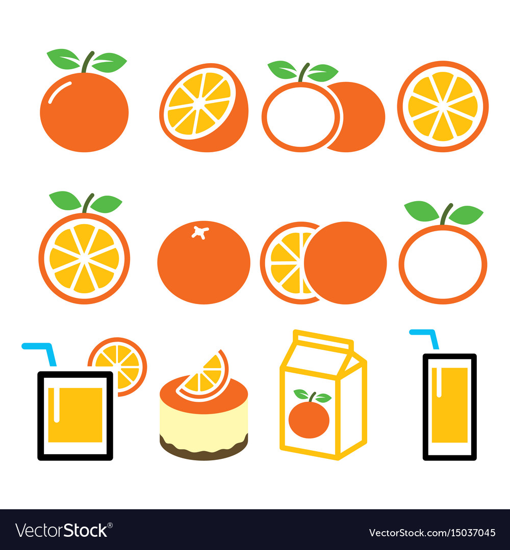 Orange icons set - food nature concept design