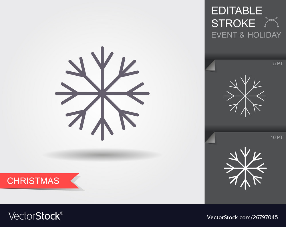 Snowflake line icon with editable stroke with