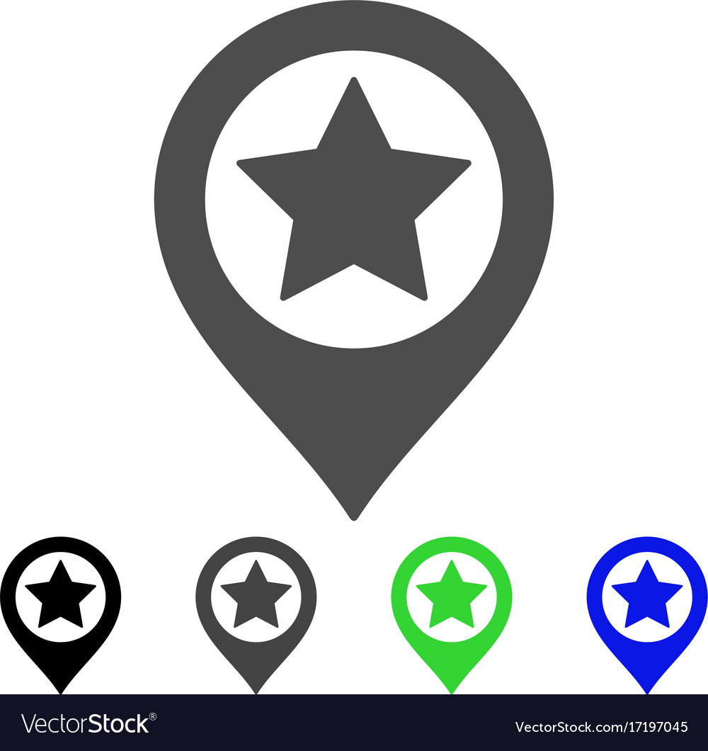 Star map marker flat icon