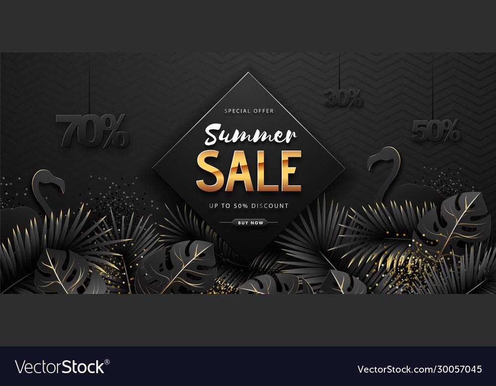 Summer sale poster on black background