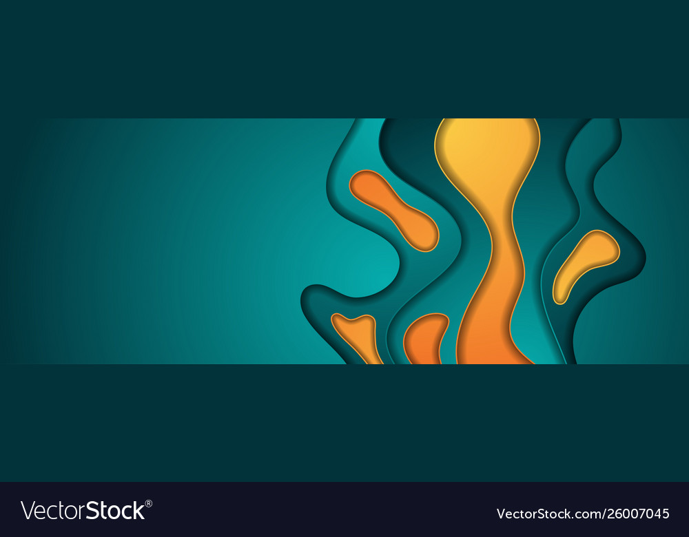 Turquoise and orange abstract papercut background