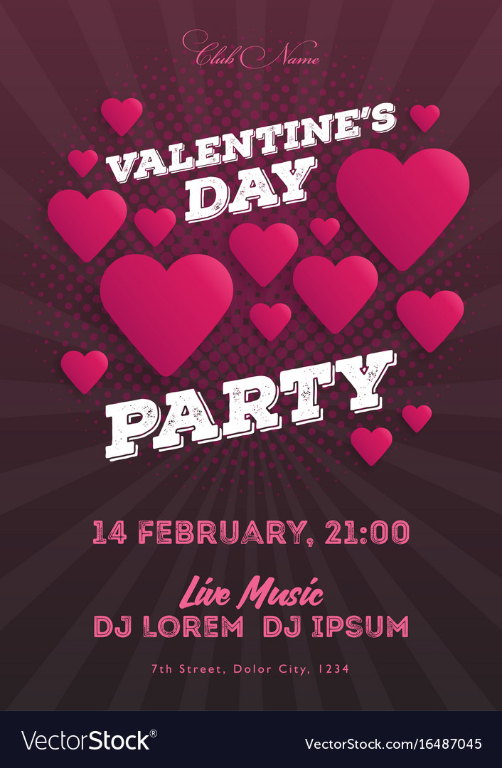Valentines day invitation flyer the template for