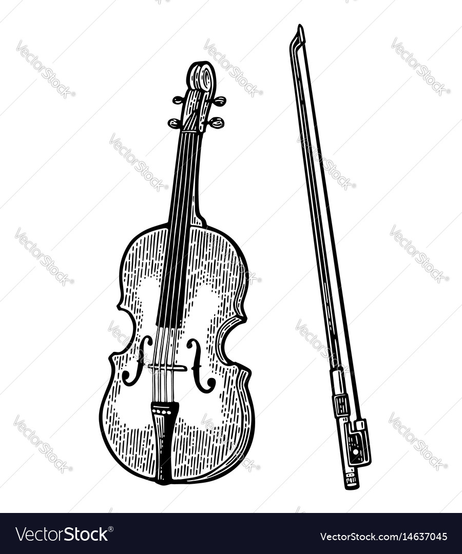 Violin vintage black engraving