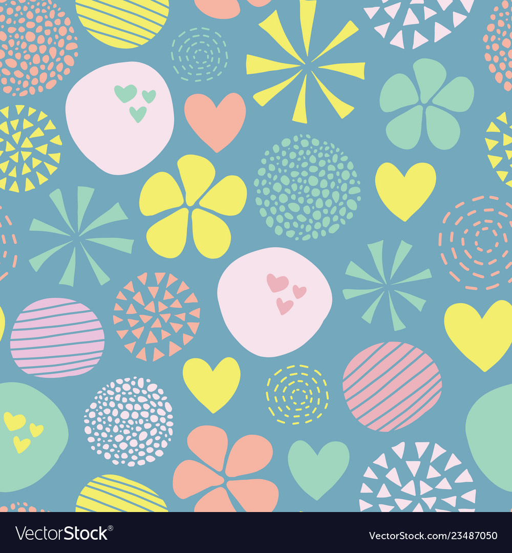 Cute doodle pattern with flowers dots hearts in