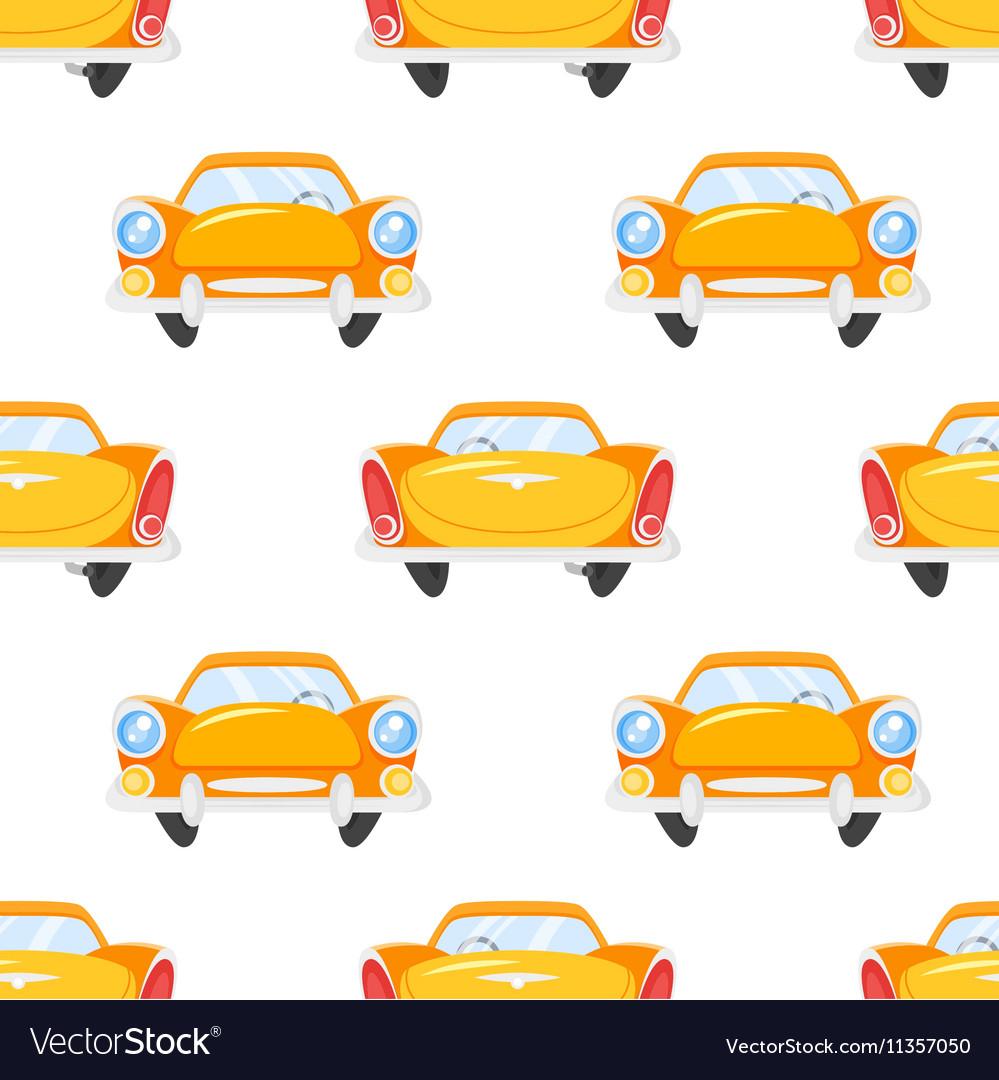 Flat style seamless pattern of retro yellow car