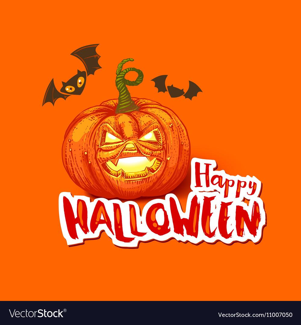 Halloween card with pumpkin and bats