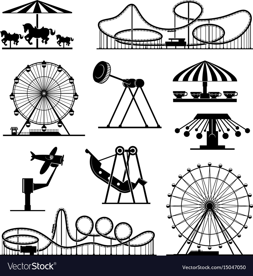 Icons of different attractions in amusement