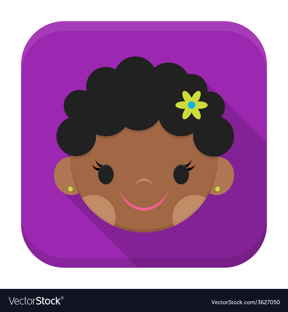 Smiling african girl face app icon with long