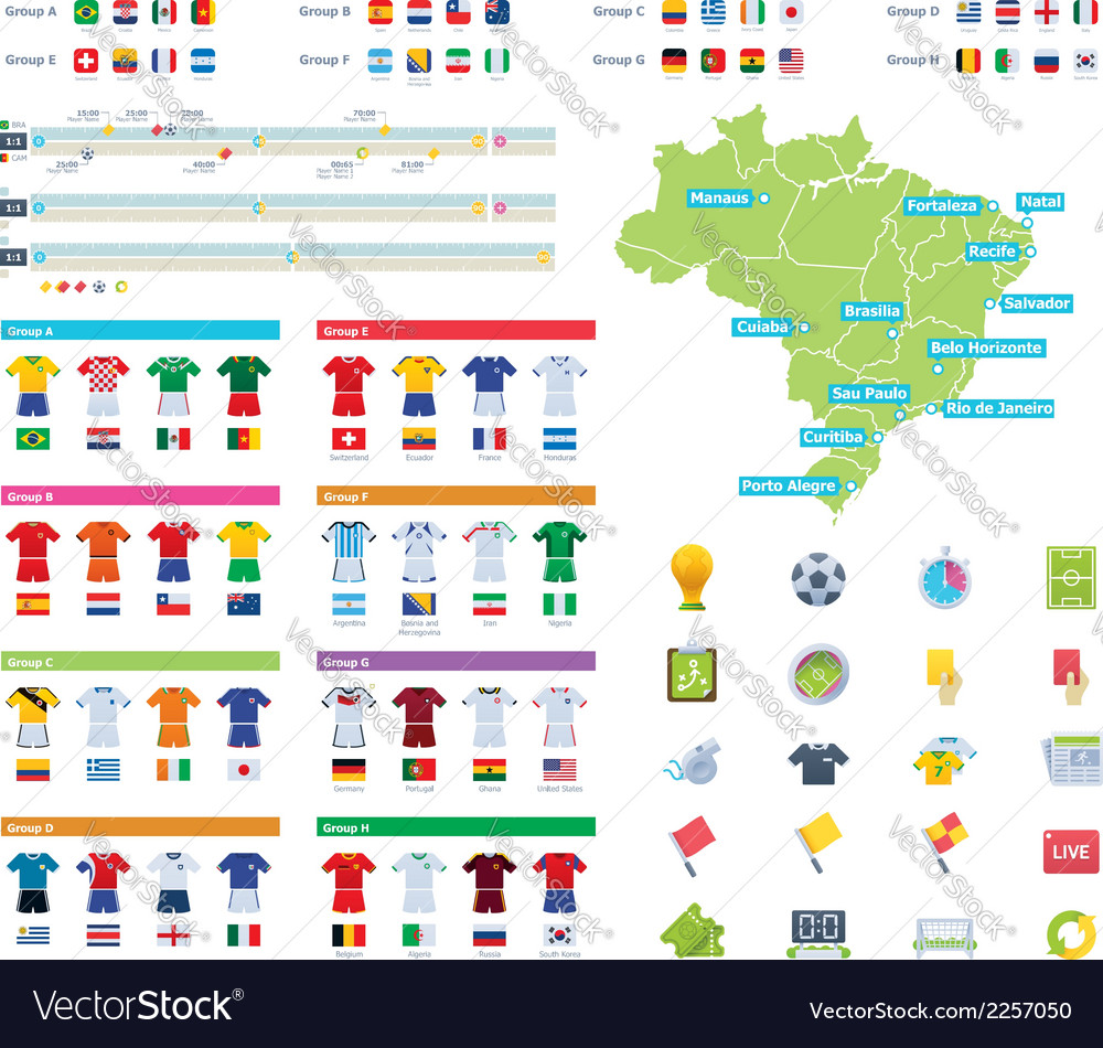 Soccer championship infographic elements vector image