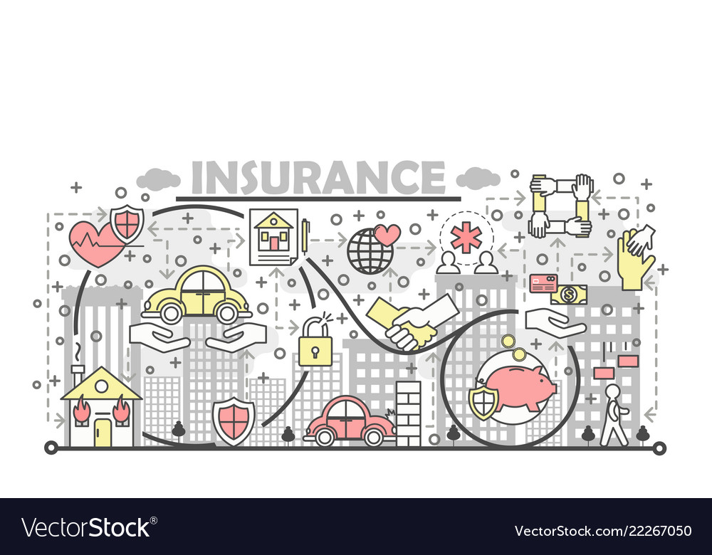 Thin line insurance poster banner template