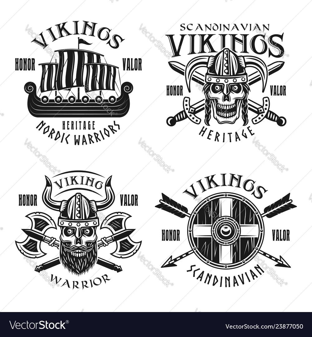 Vikings warriors emblems labels badges