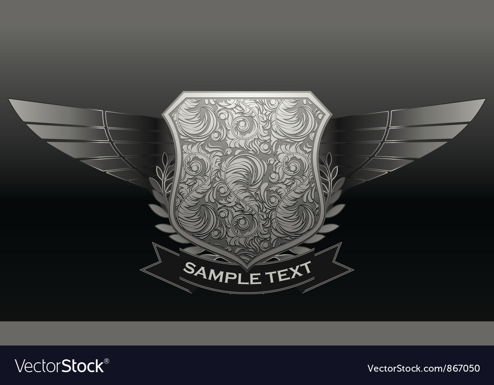 Vintage emblem with shield and wings