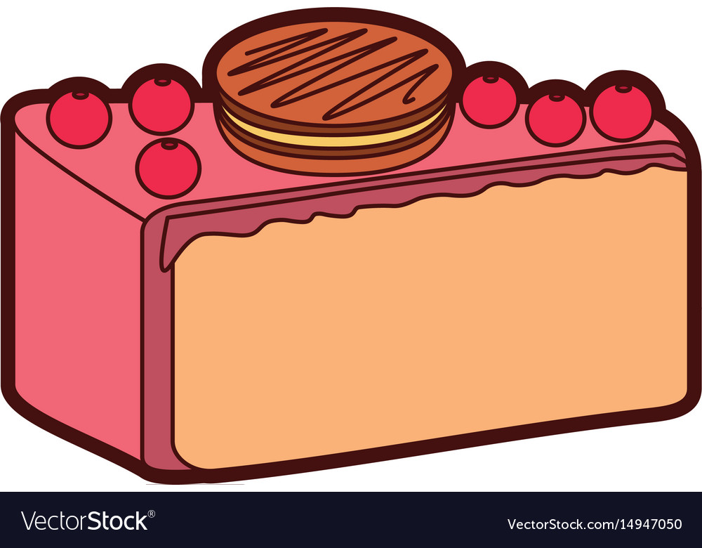 1221c239ee01 Yummy sweet cake slide piece Royalty Free Vector Image
