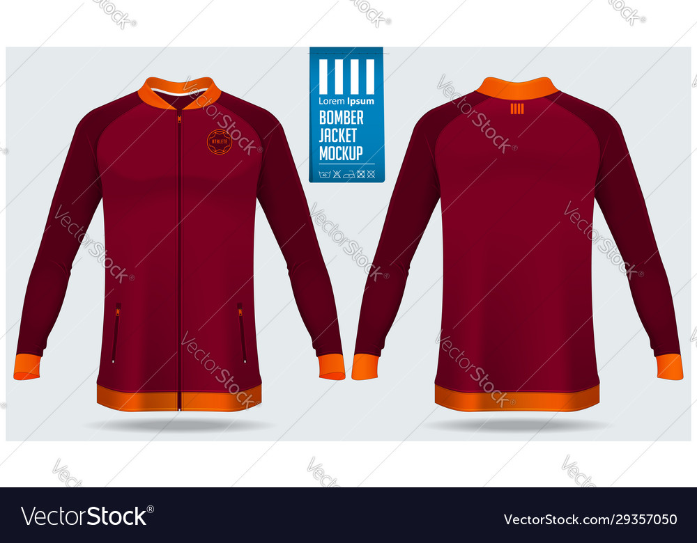 Zipped Bomber Jacket Mockup Template Design Vector Image