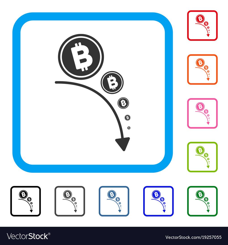 Bitcoin deflation trend framed icon