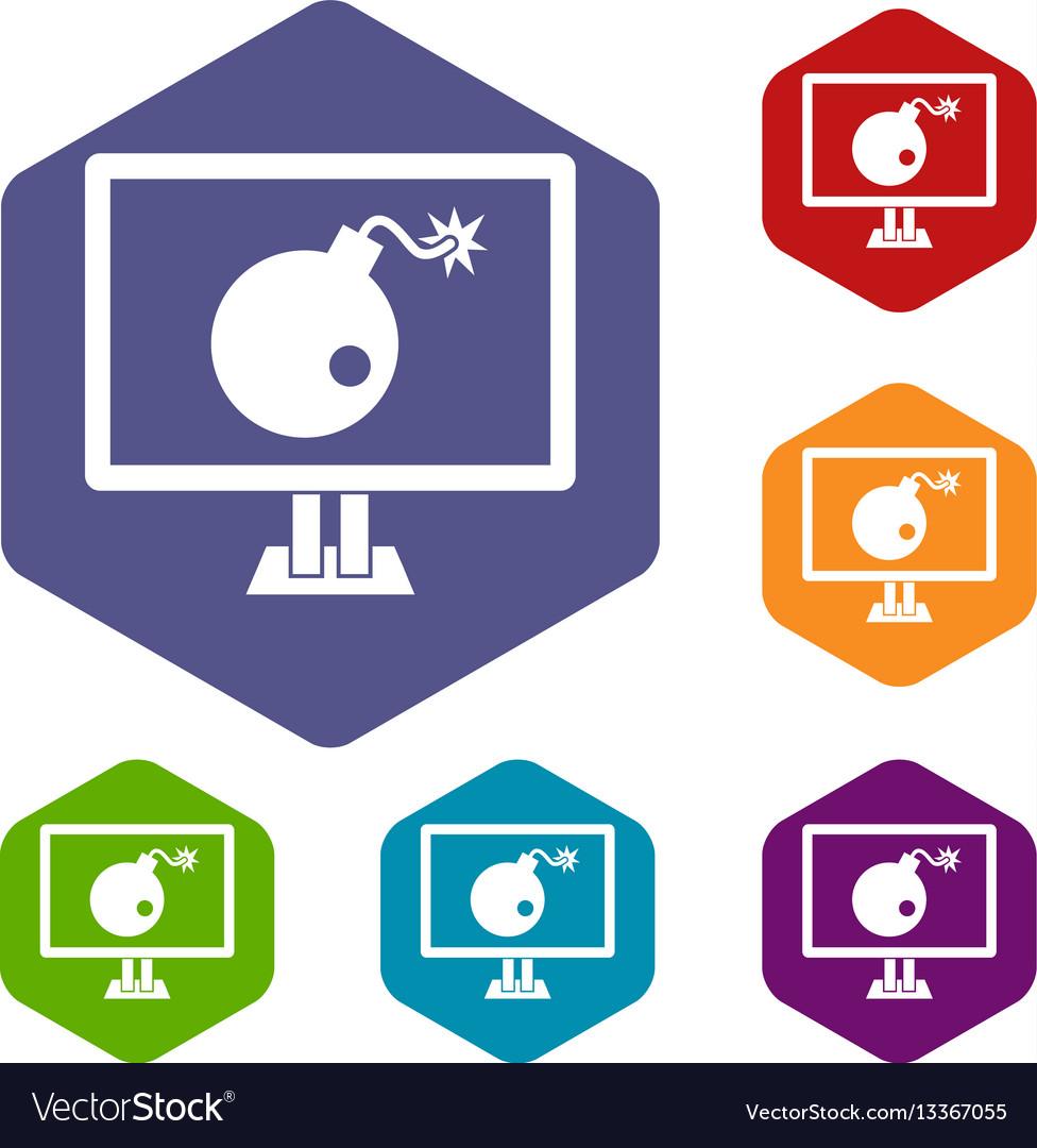 Bomb on computer monitor icons set