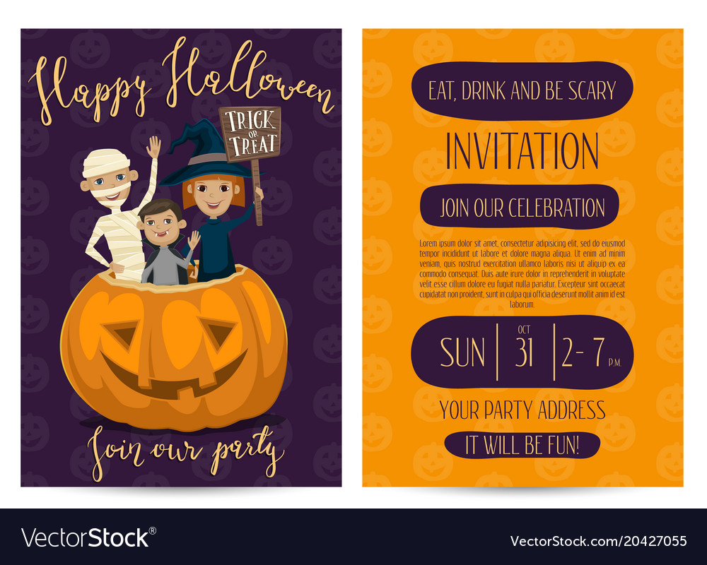 halloween party invitation design with kids vector image
