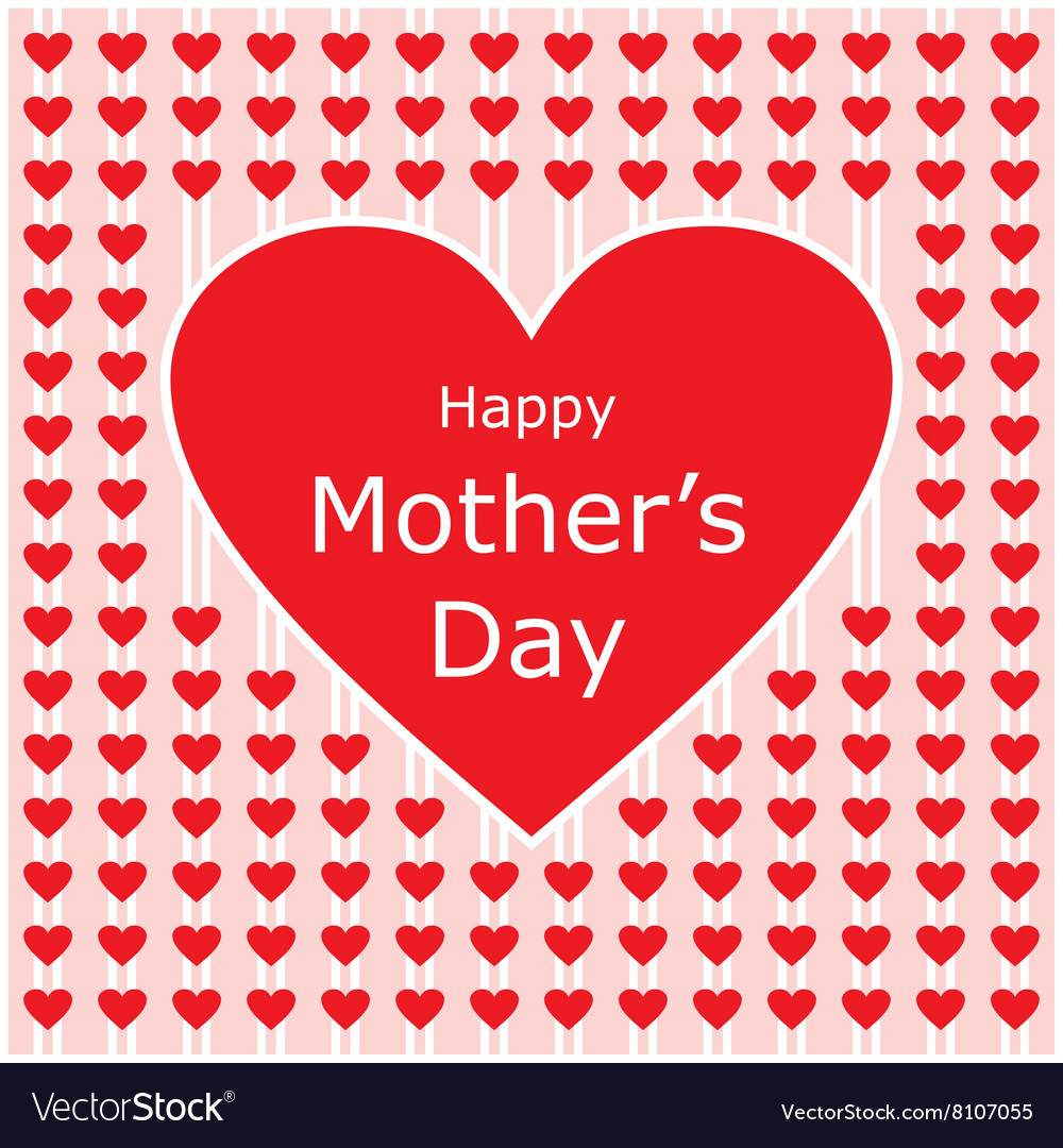 Happy mothers day love letter with red heart