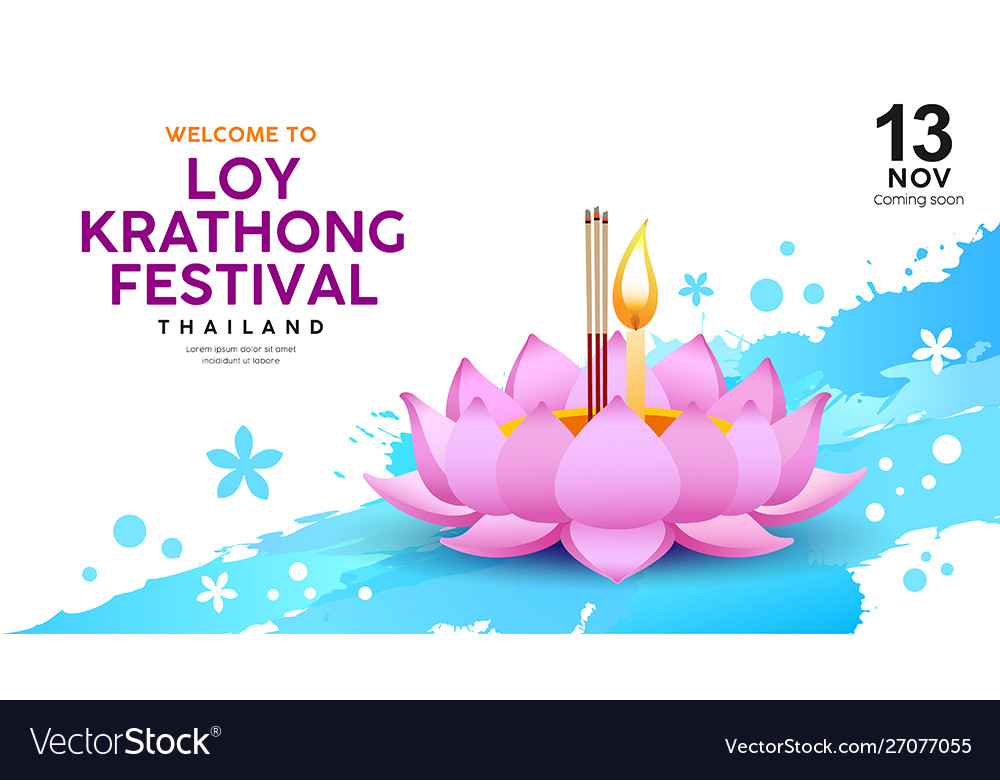 Loy krathong festival in thailand banners on water