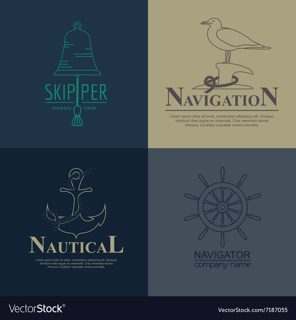 Set of sailing boat and nautical logos
