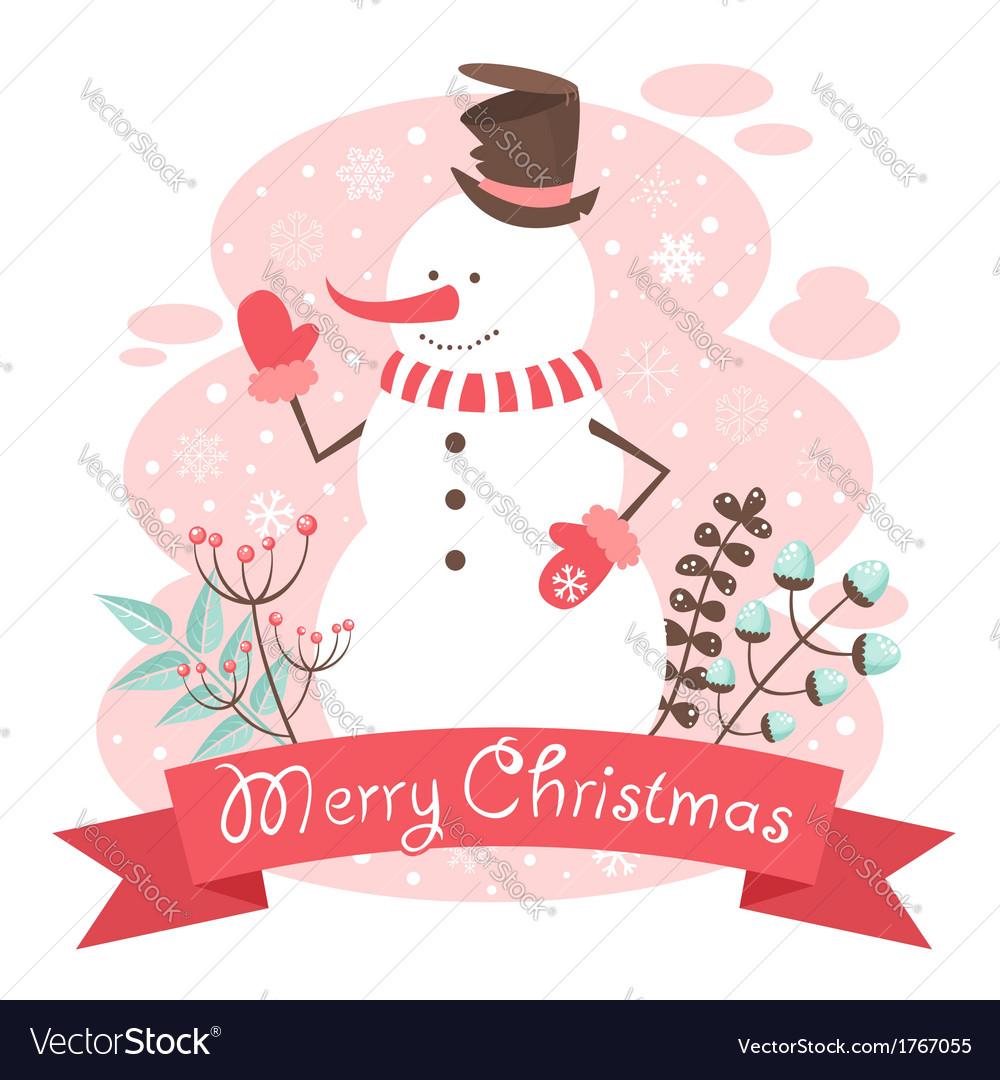 Snowman Christmas congratulation postcard