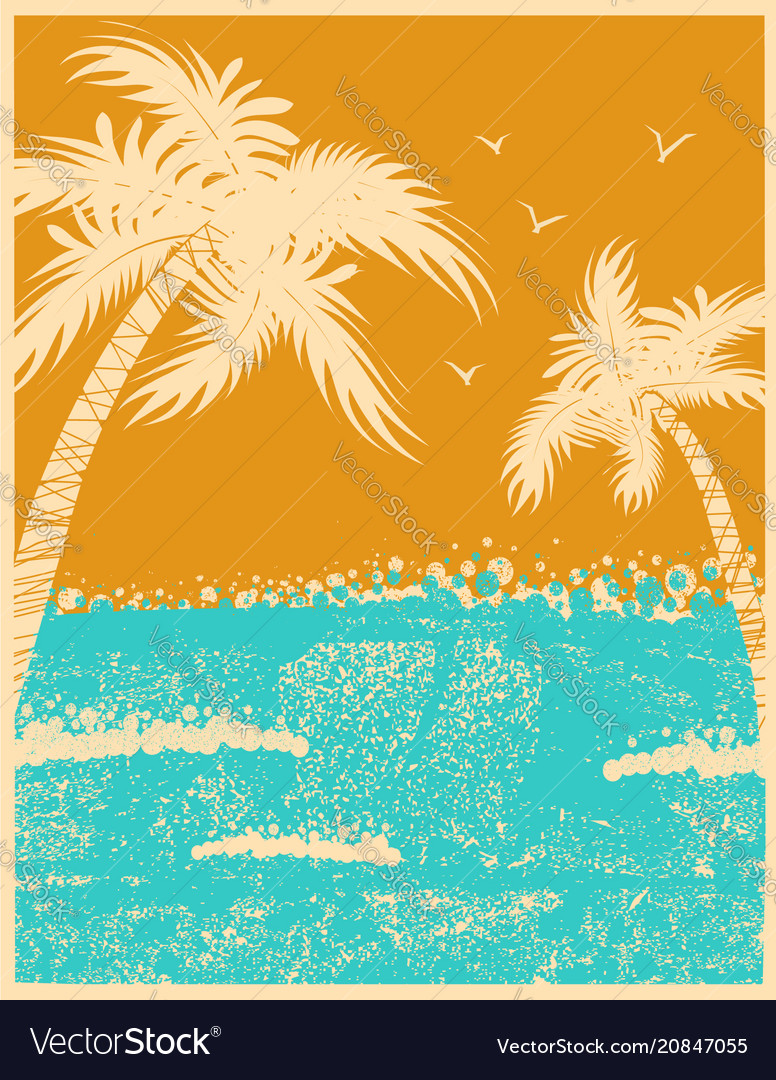 Tropical palms background with ocean waves