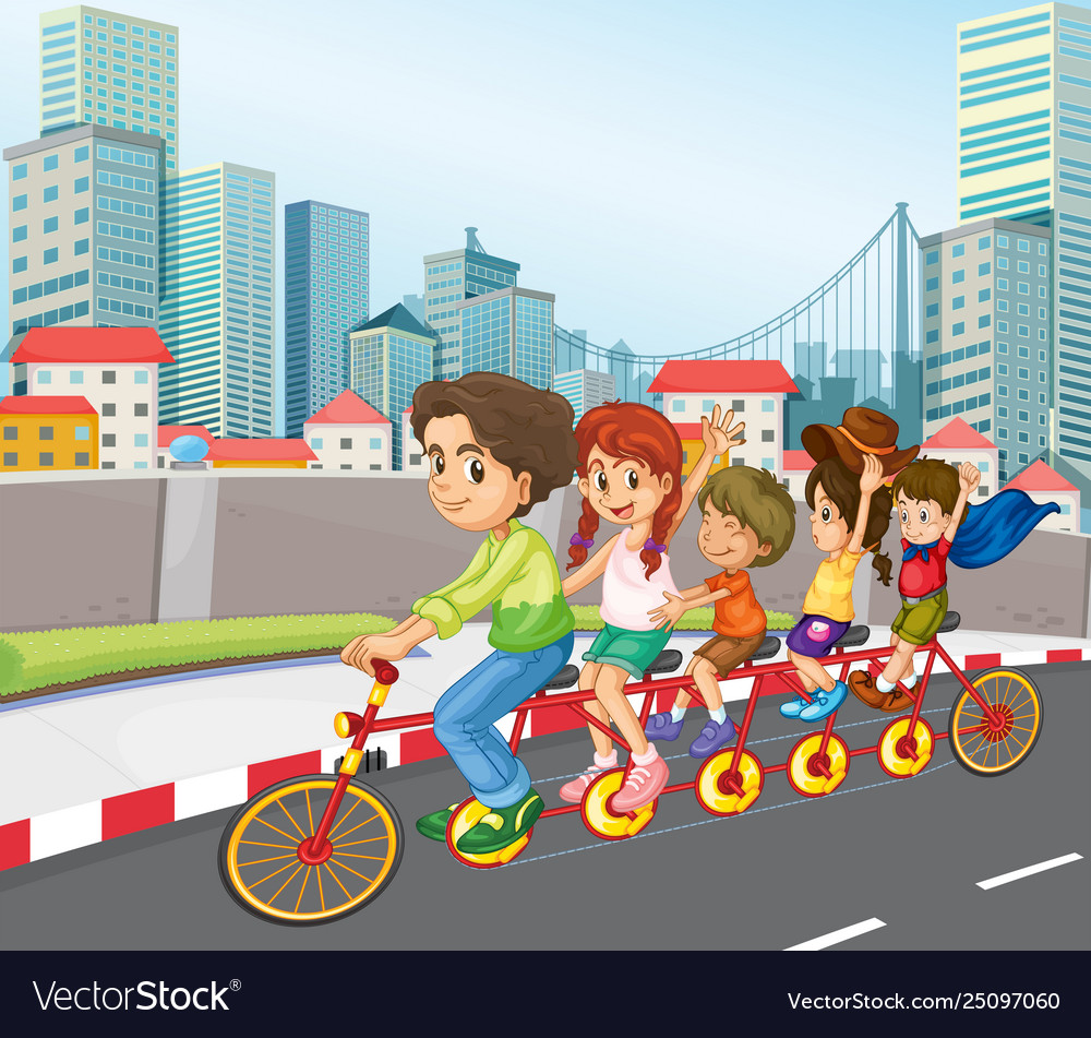 A family riding bicycle in city